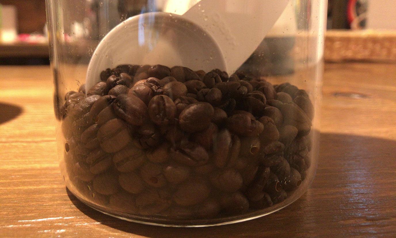 写真はエチオピアとピーベリーです。ピーベリーの豆はエチオピアの豆に比べて小さく丸いのが特徴的でした