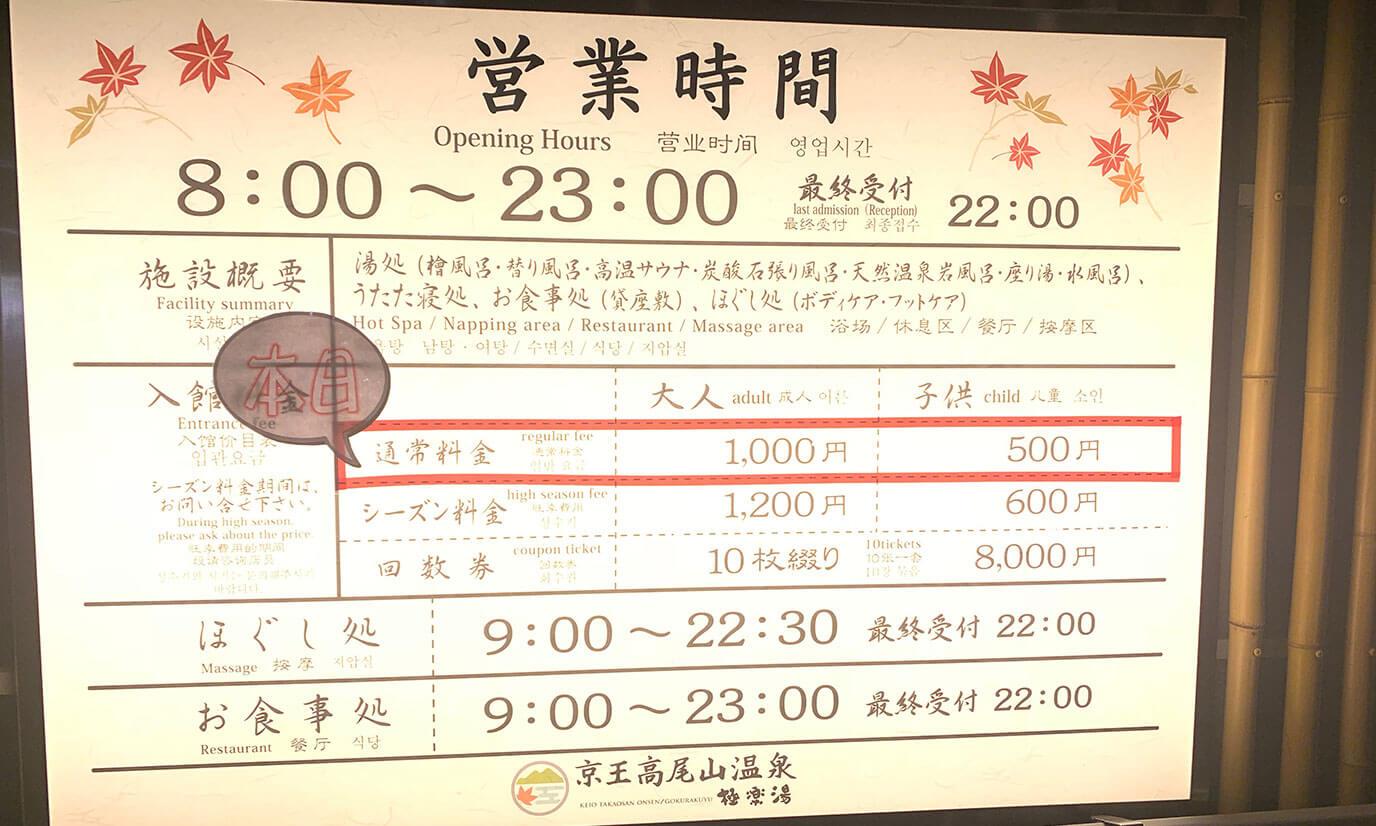 ハイシーズン時はそれぞれ1200円、600円になります